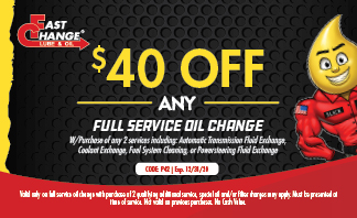 $40 Off Any Full Service Oil Change