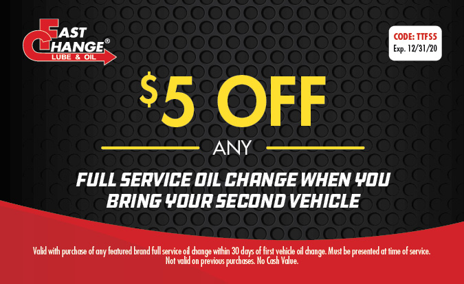 $5 Off Any Full Service Oil Change When You Bring Your Second Vehicle